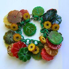 Flowered Bakelite Bracelet