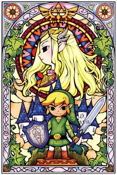Zelda & Link Stained Glass Window - Beautiful!