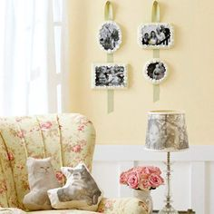 Family Room Photo Projects (hanging, lamp shade, and pillows)