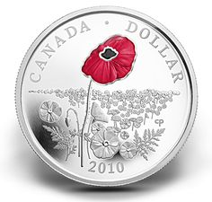 Coin features selective red enamelling to highlight the poppy, Canada's poignant symbol of remembrance. Canadian Coins, Canadian Army, Funny Owls, Coins Worth Money, Coin Worth, Canada Post, Canada Eh, Remembrance Day, Dollar Coin