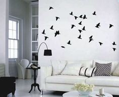 Birds In Flight Set of 25 Vinyl Wall Decals - Easier Than Paint or Stencils - Select Color - WrenGifts - Quality Discount Decals
