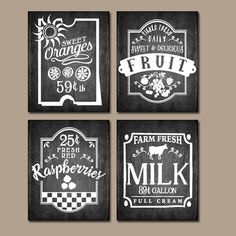 KITCHEN Wall Art Chalkboard Quotes Fruit Antique by TRMdesign