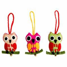 3-Piece Owl Ornament Set