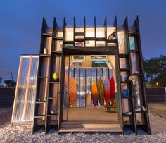 Yves Béhar created a temporary beach hut installation to showcase his collection of surfboards in Miami Design District