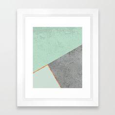 MINT COPPER GRAY GEOMETRIC PATTERN Framed Art Print