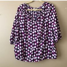 Loft Blouse Loft blouse in EUC. Navy with polka dots and elastic waist and sleeves LOFT Tops Blouses