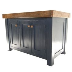 Kitchen island from Eastburn Country Furniture - This well-proportioned island is from a company that specialises in furniture made from reclaimed wood. It is shown painted in Farrow & Ball's Pitch Black. Unpainted versions and other sizes are available.  Read more at http://www.housetohome.co.uk/product-idea/picture/freestanding-kitchen-units-10-of-the-best#OUODev0ROh8aEfYf.99
