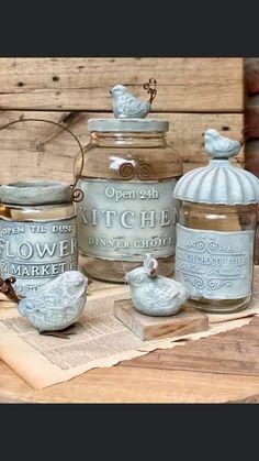 Glass Bottle Crafts, Bottle Art, Mason Jar Diy, Mason Jar Crafts, Glass Containers, Glass Jars, Altered Bottles Tutorial, Tin Can Art, Decoupage Glass