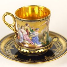 We are delighted to offer this stunning hand painted antique porcelain cabinet cup and saucer painted with a classical scene entitled 'Abduction of Eur...