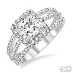 Princess cut diamond engagement ring with halo setting and triple split shank set with pave diamonds.