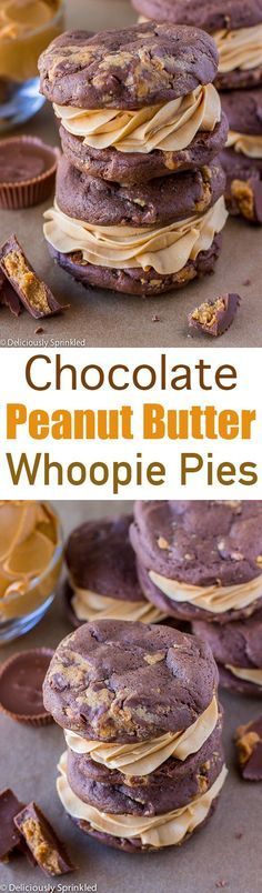 A recipe for Chocolate Peanut Butter Whoopie Pies. Chocolate Peanut Butter Whoopie Pies with Peanut Butter Buttercream Frosting. Beaux Desserts, Just Desserts, Delicious Desserts, Yummy Food, Peanut Butter Desserts, Chocolate Peanut Butter, Chocolate Desserts, Choco Chocolate, Chocolate Ganache