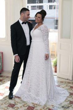 Rinat | Studio Levana | Plus Size Wedding Dress | Long Sleeve Lace Wedding Dress | Plus Size Bride | All My Heart Bridal