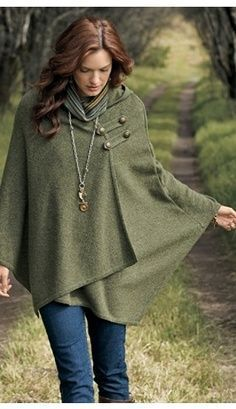 Women's Wool Sage Cape.