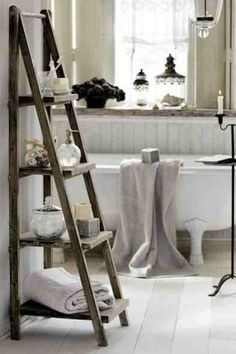 Love this bathroom and the ladder idea x