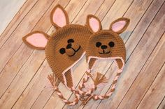 Crochet Kangraroo Hat  Mother and Daughter by RevelynsHandcrafts