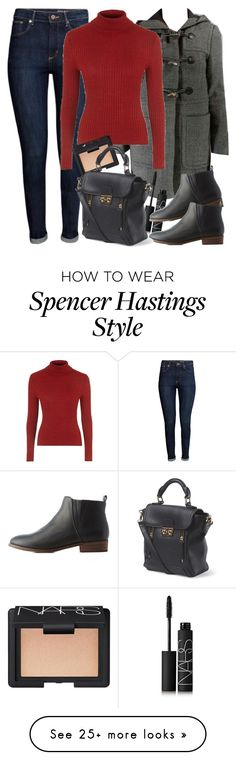"""""""Spencer Hastings inspired outfit with requested coat"""" by liarsstyle on Polyvore featuring mode, NARS Cosmetics, H&M, Topshop, Charlotte Russe et WF"""