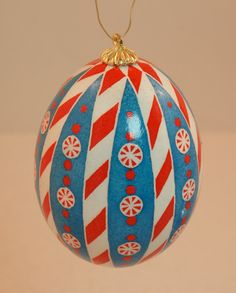 Candy Cane Sweet  Red white and blue pysanka by HankyPysanky