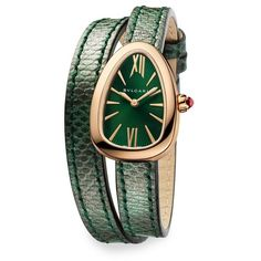 BVLGARI Serpenti 18K Rose Gold  Diamond Watch ($9,700) ❤ liked on Polyvore featuring jewelry, watches, accessories, green, red gold jewelry, 18k watches, bulgari jewelry, diamond wrist watch and green watches