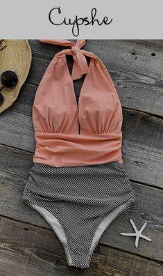 Malkstore Striped One-piece Swimsuit V neck Backless Halter Sexy Bikini 2019 Ladies Beach Bathing Swimwear New Hot Summer Spring Bikini Swimwear Trendy Pool Poolparty Summer Wear, Summer Outfits, Cute Outfits, Sexy Bikini, Bikini Set, Bikini Beach, Bikini Bottoms, Bikini Swimsuit, Bikini Floral