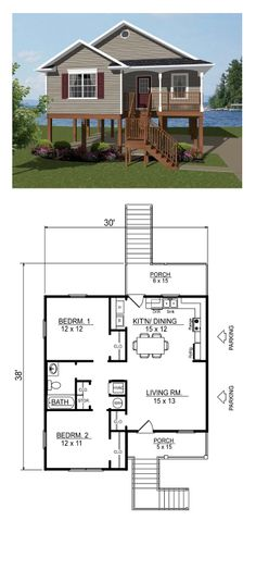 Coastal House Plan 96703 | Total Living Area: 856 sq. ft., 2 bedrooms  1 bathroom. #houseplan #coastalhomeplan