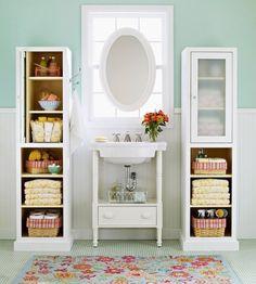 organized display on bathroom or linen closet shelves