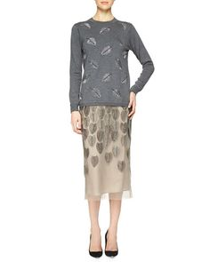 Lela Rose Cashmere-Blend Feather Beaded Sweater & Feather Beaded Tulle Midi Skirt Fall 2015