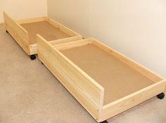 Under bed storage drawers - set of two storage underbed draws Diy Storage Under Bed, Under Bed Drawers, Underbed Storage Drawers, Diy Drawers, Diy Rangement, Diy Décoration, Diy Bed, Bedroom Storage, Bedding Storage