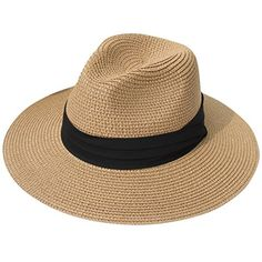 Lanzom Women Wide Brim Straw Panama Roll up Hat Fedora Beach Hat Floppy Straw Hat, Wide Brim Fedora, Fedora Hat, Straw Hats, Fedora Beach, Beach Hats, Sun Hats For Women, Women Hats, Hats Online