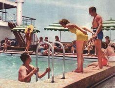Vintage cruise ship swimming pool.