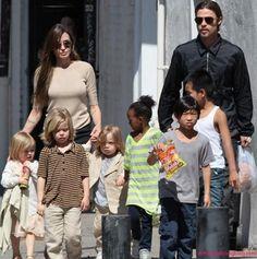 Angelina Jolie and Brad Pitt and their 6 kids - big family