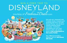 Freebies2Deals is giving away a Trip to Disneyland!! This could be the perfect Christmas present if I won!