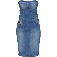 Denim Faded effect Solid colour Deep neckline Sleeveless Logo Multipockets Rear closure Zip closure Stretch Tube dress.  Material:92% Cotton, 6% Elastomultiest…