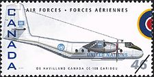 Canadian Postal Archives Database Postal Administration: Canada Title: De Havilland Canada CC-108 Caribou Denomination: 46¢ Date of Issue: 4 September 1999