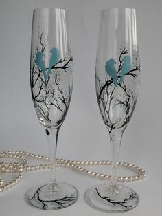 $49.00 Hand painted wedding glasses personalized flutes Black trees and blue birds