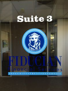 Vinyl cut stickers applied to side window for fiducian financial services by Sign A Rama Box Hill.