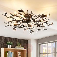Deckenlampe Yos in Blattoptik, schwarz von Lindby Luminaire Sur Rail, Luminaire Led, Lampe Led, Metal Ceiling, Led Ceiling, Living Room Lighting, Living Room Decor, Light Fittings, Tinkerbell