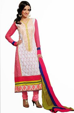 USD 70.38 White Resham Work Churidar Salwar with Suit 30717