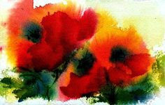 Poppies Painting - Three Poppies by Anne Duke
