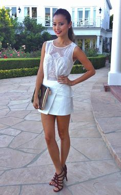 Jamie Chung: Wears BCBG Max Azria sheer top and crisp white skort.  LOVE this outfit