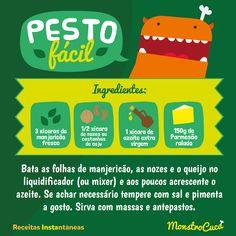 Molho Pesto, receita fácil e deliciosa para acompanhar massas e muitos outros pratos.  monstrocuca.com.br