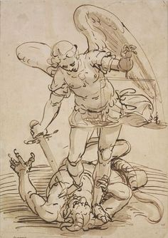 Michael overcoming the Devil, Pen and bistre, washed Drawing Sketches, Art Drawings, Kunst Online, Drawing Studies, National Art, St Michael, Old Art, Old Master, Figure Drawing