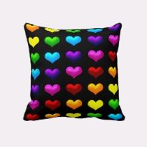 Unique, trendy, decorative and pretty pillow. Beautiful green, yellow, orange, red, pink, purple, and blue hearts on black. Romantic whimsical pillow created for the hip fashionista or fashion diva, the decor trend setter, the nouveau or modern deco art lover, or the retro motif designer. Cute girly girl's, kid's, mom's birthday present, Mother's day, or Christmas gift. Original, cool and fun pillow for the master or children's bedroom, nursery, dorm room, beach house, vacation home, or…