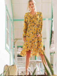 bad2b6b0d552 Floral Print Ruffle Trim Dress -SheIn(Sheinside) Ruffle Trim, Ruffles, Dress