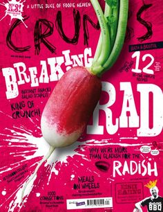 This is a magazine cover for health food. I love the way the text and image work together to make a fun, bursting mood. Both hand lettering and a serif font is used which I think is successful. The way the type is jagged and uneven really helps the mood. I love the placement of the radish and the scattered out text.