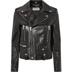 Saint Laurent Leather Biker Jacket (5,940 CAD) ❤ liked on Polyvore featuring outerwear, jackets, leather jackets, tops, coats, leather rider jacket, rider jacket, motorcycle jacket, moto jacket and leather biker jacket
