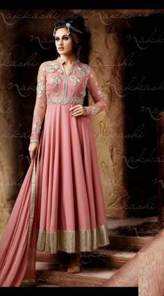 Beautiful Dusty Pink Designer Ankle Length Anarkali Suit With Dupatta 2BR302851 Exclusive dusty pink net and georgette ankle length kameez which is imposingly made with resham, emboridery and lace work. This attire comes with matching bottom and dupatta. This Unstitch Salwar Kameez can be stitched in the maximum bust size of 42 inches.