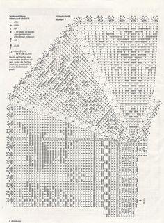 Crochet granny square: easily customisable to any size.interesting ideas for decor crochet Crochet Motif Patterns, Crochet Blocks, Square Patterns, Crochet Diagram, Crochet Squares, Crochet Chart, Crochet Granny, Filet Crochet, Crochet Doilies