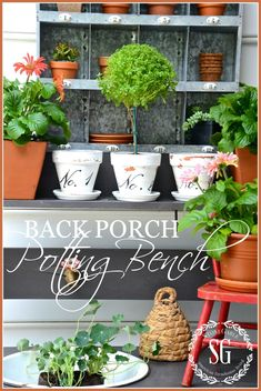 Sweet decorative and useful back porch potting bench.