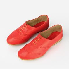 The Soft Oxford - red leather womens oxford round toe - Poppy Barley