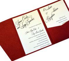 Calligraphy Pocket Fold Invitation by MailMyHeart on Etsy